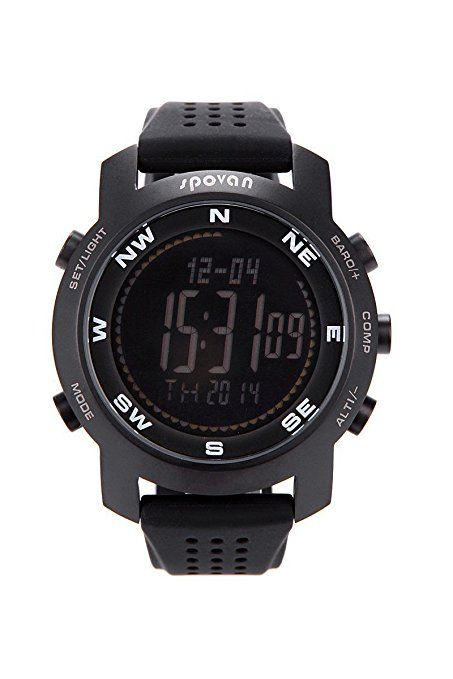 Spovan BRAVO-I Reloj Barometro Altimetro Brujula Termometro Compas Pronostico del Tiempo Cronografo Digital Reloj Deportivo (Negro Fondo)