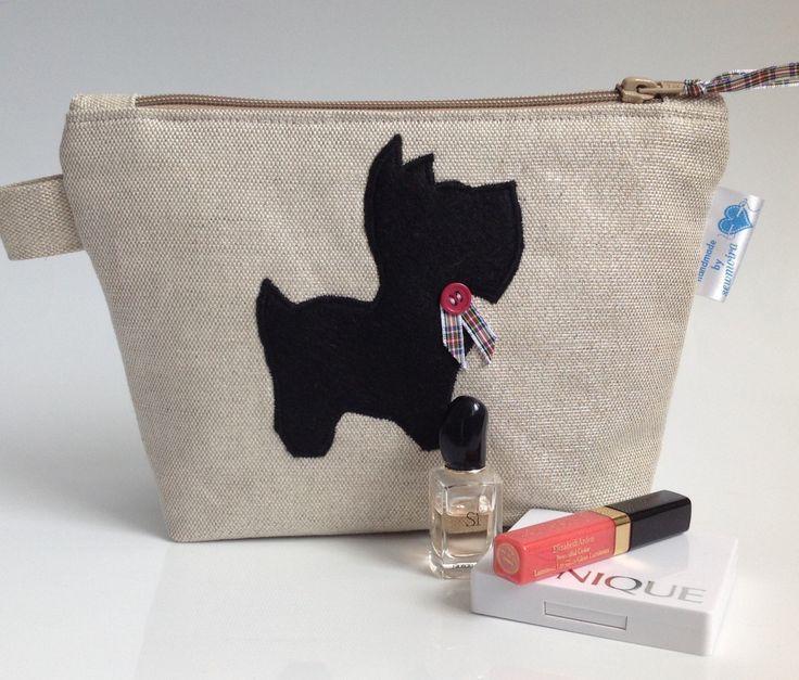 Laura Ashley Fabric Cosmetic Purse with Scottie Dog & Tartan Trim- Handmade in Scotland by sewmoira on Etsy