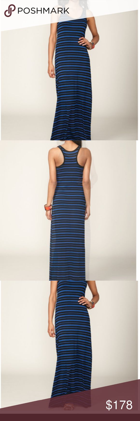 Seaton Scuba Striped Maxi Dress In black and cobalt stripes. Racer tank back. Excellent condition, only worn once. Seaton Dresses Maxi