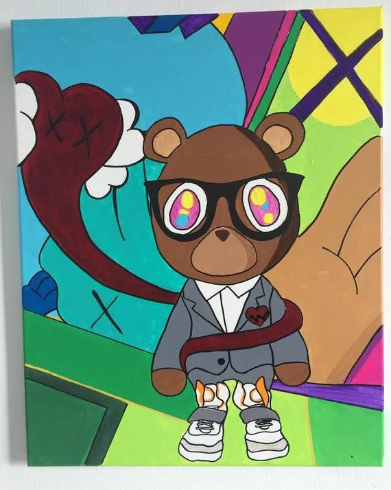 808 S Heartbreaks Kanye Bear Easy Canvas Art Cartoon Wallpaper Musical Art