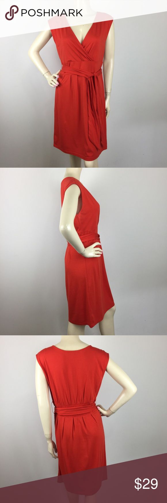 """Ann Taylor Loft Orange Medium Petite CONDITION: No minimal sign of Wear. MATERIAL: 60% Cotton 40% Modal  (Please note that the measurements are approximate) ALL MEASUREMENTS ARE TAKEN WITH GARMENT LYING FLAT: BUST: 18"""" WAIST: 16"""" HIPS: 21"""" LENGHT: 37"""" Ann Taylor Dresses"""