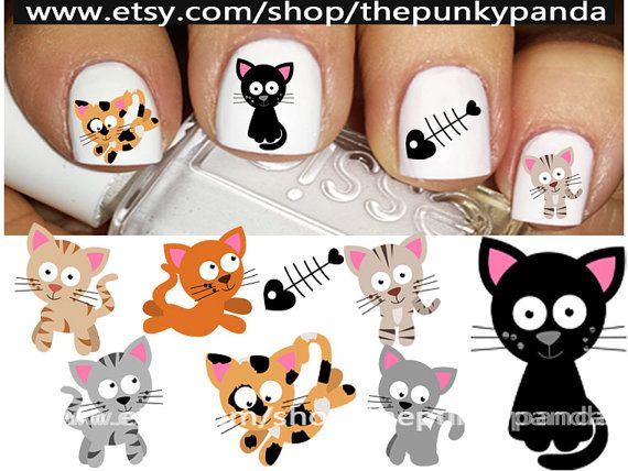 Buy 2 Get 1 Free-180 Decals Total-60 Nail Decals Per Set - Cute Kitties Cats Cuties 1 - Nail Art