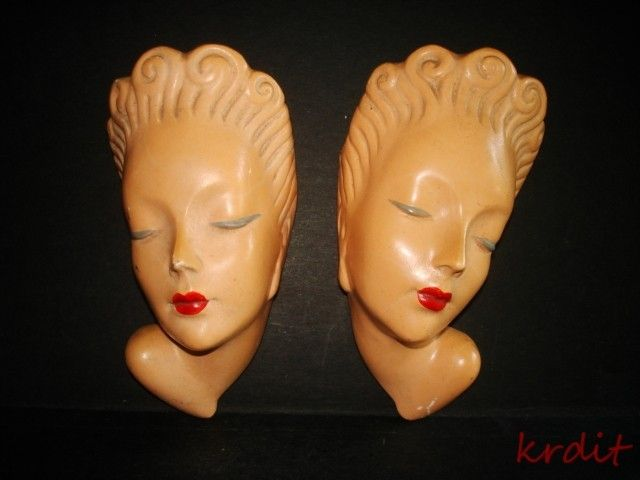 Details About Pr Vintage Art Deco Lady Heads Painted Chalk