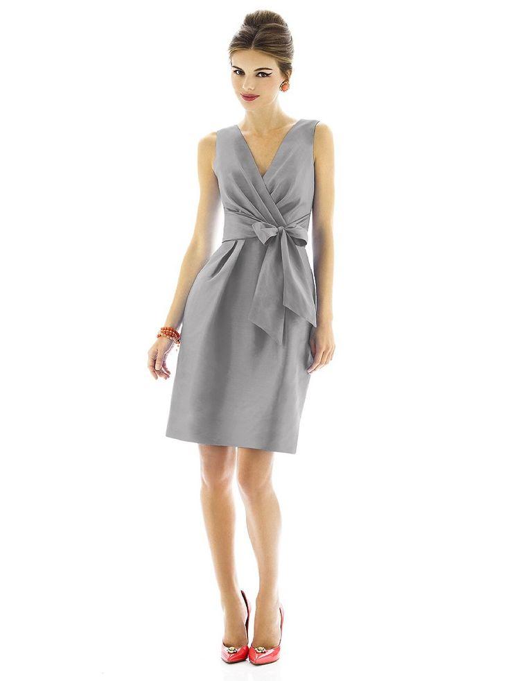 Alfred Sung D595 Dress Dupioni Bow Sash Waist Short A Line
