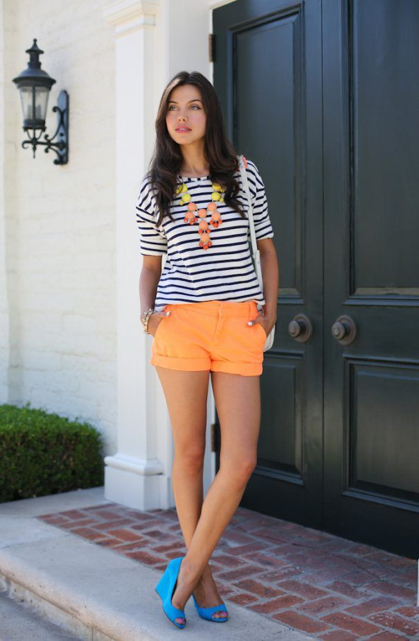 4. Neon Orange Shorts With Striped Top 2017 Street Style