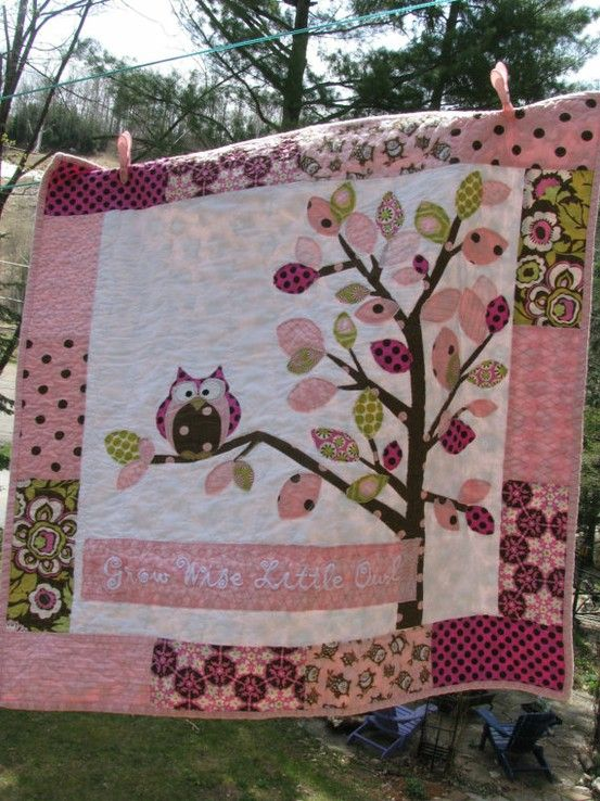 Owl nursery cotton : Girl owl baby quilt patterns