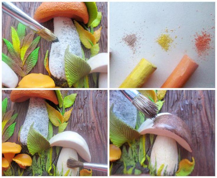 Сегодня я покажу вам некоторые этапы создания панно «Грибная история» из полимерной глины. Мне кажется, оно приятно украсит детскую, так как в итоге у нас получится милый уголок «живой» природы :) Для работы нам понадобятся: полимерная глина (запекаемая), скалка или паста-машина, иголочка, зубочистка, резак, краски акриловые, лак глянцевый, зубная щётка и наши волшебные руки и фантазия!