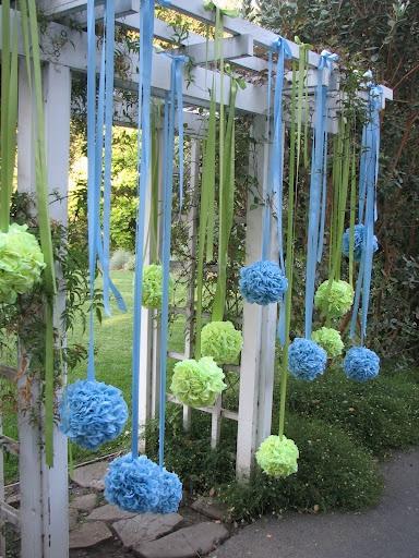 Weddings by Psalm117.  For Sally!Blue Hydrangea, Backyards Parties, Paper Pom Pom, Backdrops, Wedding Ideas, Tissue Pom Poms, Wedding Blog, Tissue Pompom, Birthday Ideas