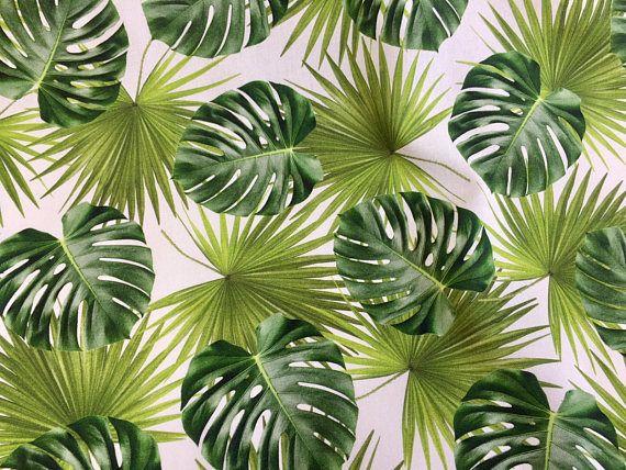 HOJAS de Palma tejido de algodón de hoja tropical cortina
