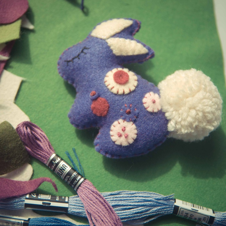 Handmade by Martha Stark tags: #handmade #marthastark #brooch made of #felt #decoration #rekodzielo #bead #thread #rabbit #cream #violet #animal #fancywork #embroidery