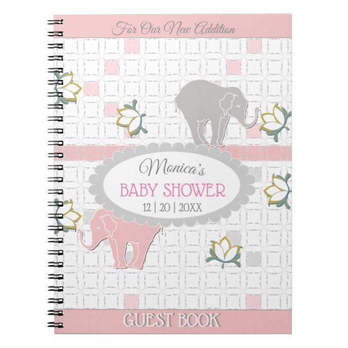 Pink & Grey Stripe Elephant Safari   Baby Shower Notebook ...