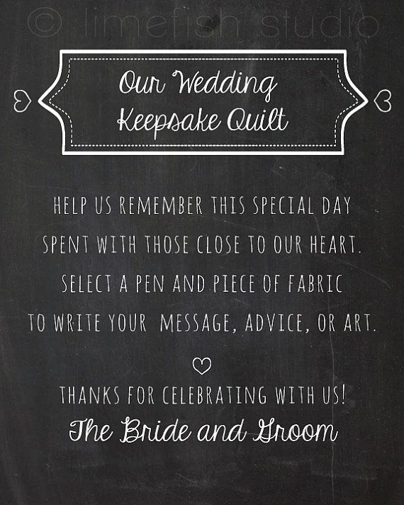 INSTANT DOWNLOAD - Wedding Quilt Sign - Guestbook Quilty - Chalkboard Wedding Ideas - by LIMEFISHSHOP on Etsy