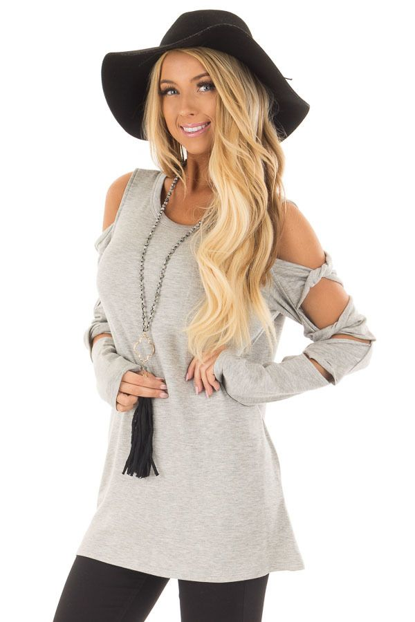 8b4944b4fc45d Heather Grey Cold Shoulder Top with Twisted Ladder Sleeves