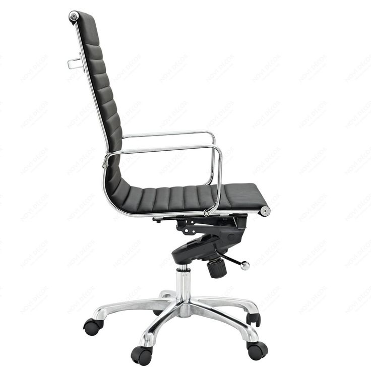 Extraordinary Counter Height Office Chairs Design With Ribbed High Back Chair In Black Vinyl And Chromed Steel Frame Also Light Aluminum Base With Five Wheel With Reclining Office Chair Plus Cheap Office Furniture, Amazing Furniture Cool Computer Chairs: Furniture