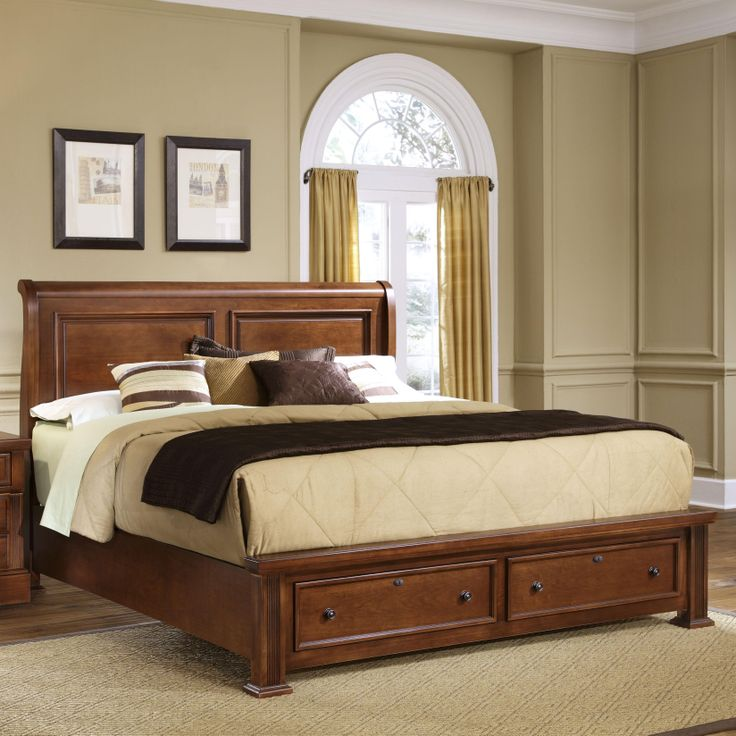 New Haven King Sleigh Bed with Storage Footboard by Vaughan Bassett