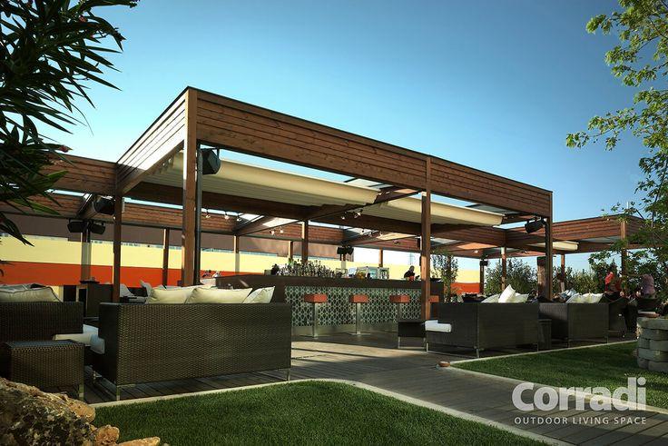 COBERTI Pergotenda 100 para exterior de restaurante. #pergola #pergotenda #100 #restaurante #madera #lineal #moderna #corradi #coberti #malaga
