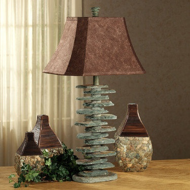 Stacked Slate Table Lamp