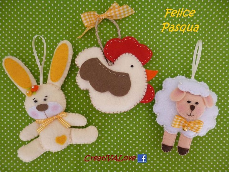 Decorazioni pasquali: coniglietto, pecorella e galletto in feltro/pannolenci. Handmade Felt Creations.