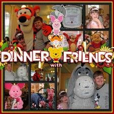 Cute idea for a Disney Scrapbook page: Dinner with Friends  Robyn, this is a great idea! Even without each frame filled with the breakfast, Other frames could have great graphic Disney paper!