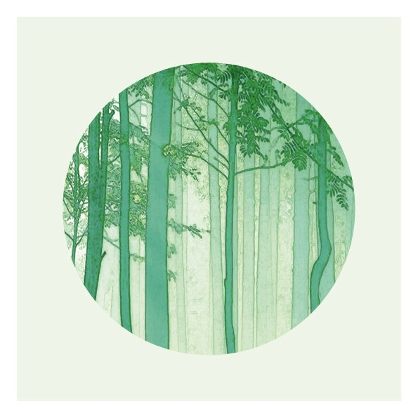 Woodland photography Green Trees - Nature Fine art Print - Emerald and pale Green - Circular photo - GREEN TREES. $30.00, via Etsy.