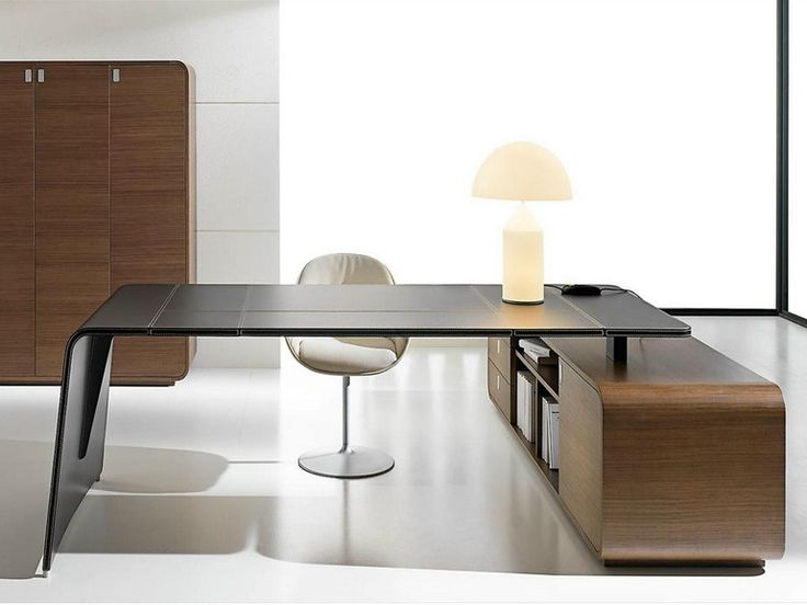 L-shaped tanned leather executive desk with drawers Sestante Collection by Ideal Form Team | design Nikolas Chachamis