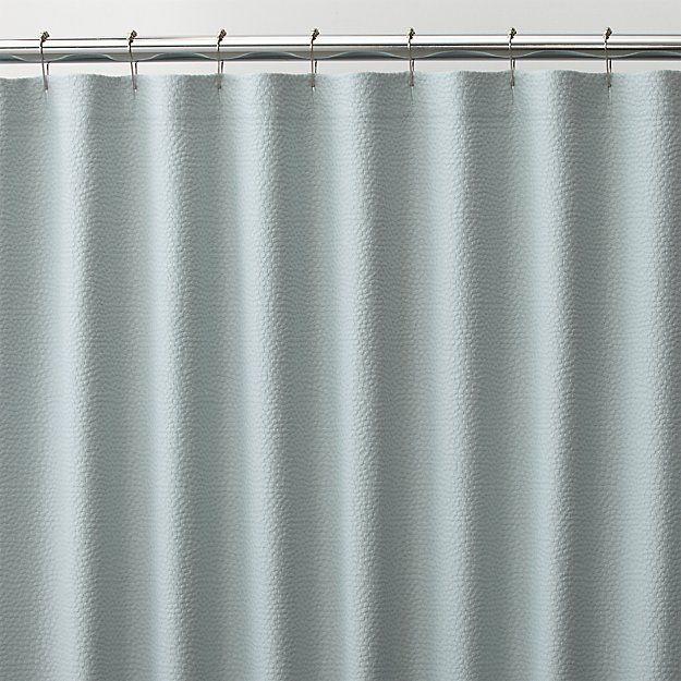 Pebble Matelassé Spa Blue Shower Curtain | Crate and Barrel