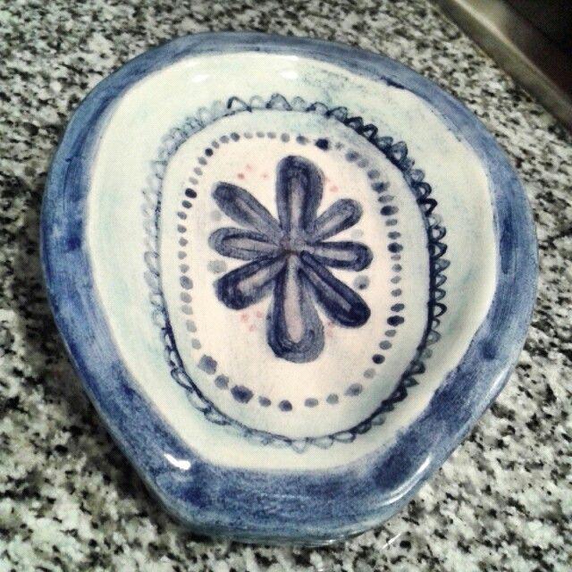 Portacuchara cerámica   Pigmentos + esmalte brillo - M+2015
