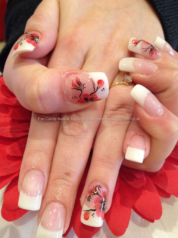White tips with one stroke nail art
