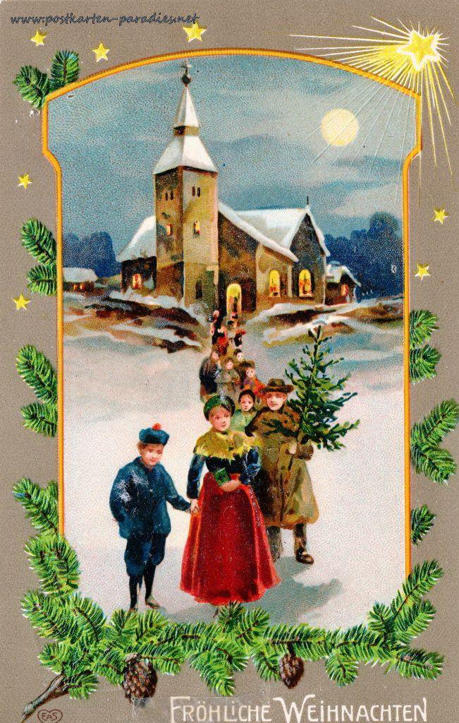 Weihnachten Kirche, Menschen Dorf 1911