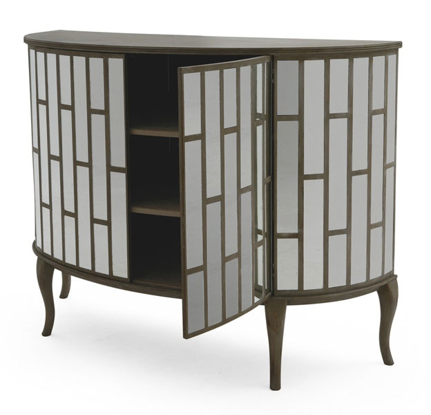 "Cabinet (Bar Accessories Stored Inside. Company: Christopher Guy. Description:  The Dortchester – A beautiful mirrored two-door cabinet, which looks simply outstanding. Code: 85-0005. Finish: Parisian Mist. Measurement: Width 65"" x Depth 24"" x Height 47"""