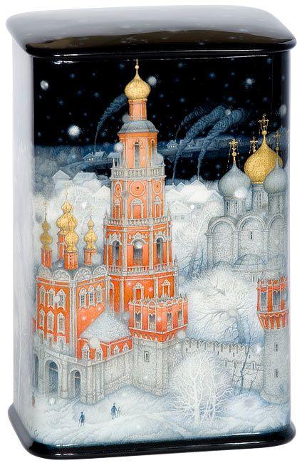 """Sergey Kozlov, Fedoskino lacquer box, Novodevichy monastery"""""""