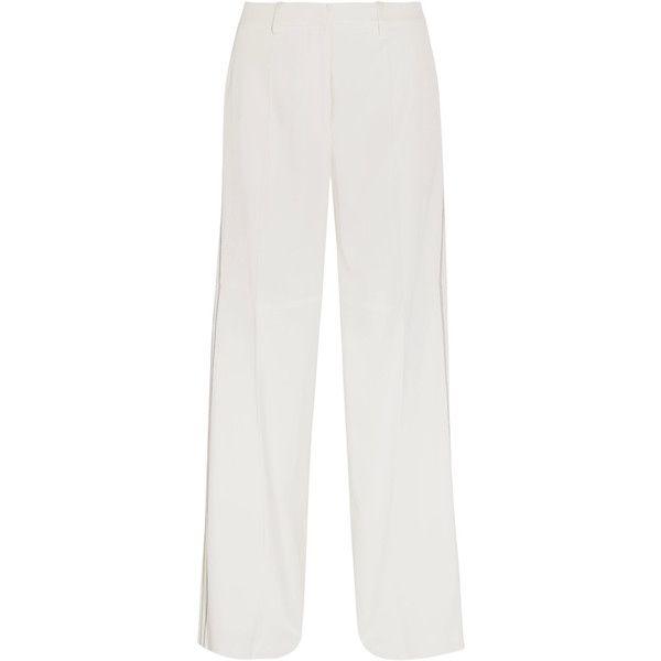 Calvin Klein Collection Laskin cady wide-leg pants (£1,055) via Polyvore featuring pants, white, wide leg pants, white wide leg trousers, striped wide leg trousers, wide-leg trousers and zipper trousers