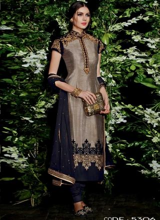 Black And Brown Bangalori Silk With Work Churidar Suit http://www.angelnx.com/Salwar-Kameez/Churidar-Suits