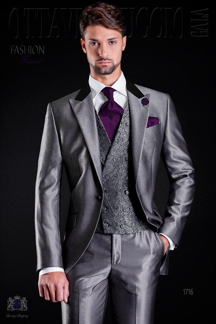 costume de mariage gris avec col de satin noir revers de pointe et 1 bouton - Costume Gris Anthracite Mariage