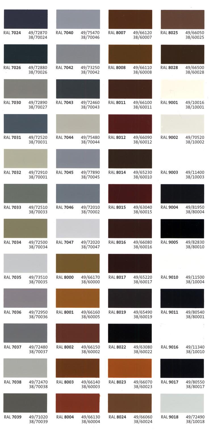RAL grey colors
