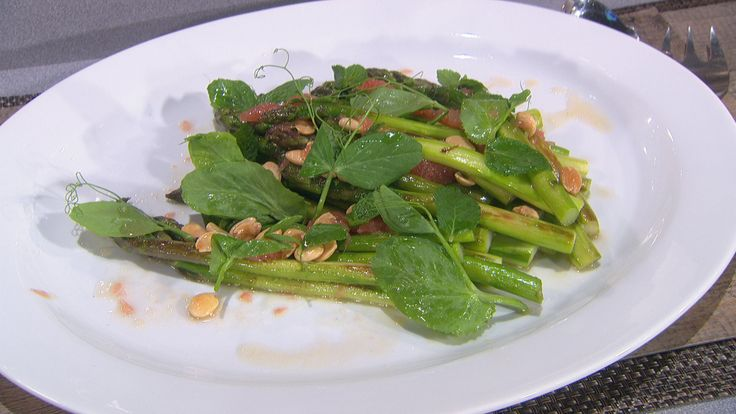 Marinated Asparagus with honey vinaigrette, almonds and grapefruit