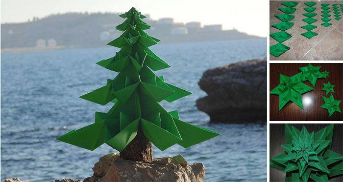 Vyrobte si takýto krásny vianočný stromček z papiera. Je to veľmi jednoduché a výsledok stojí za to. Potrebujete sa naučiť (väčšina z nás to robila, keď sme boli deti) poskladať origami loďku z papiera. Ako návod vám poslúži video.