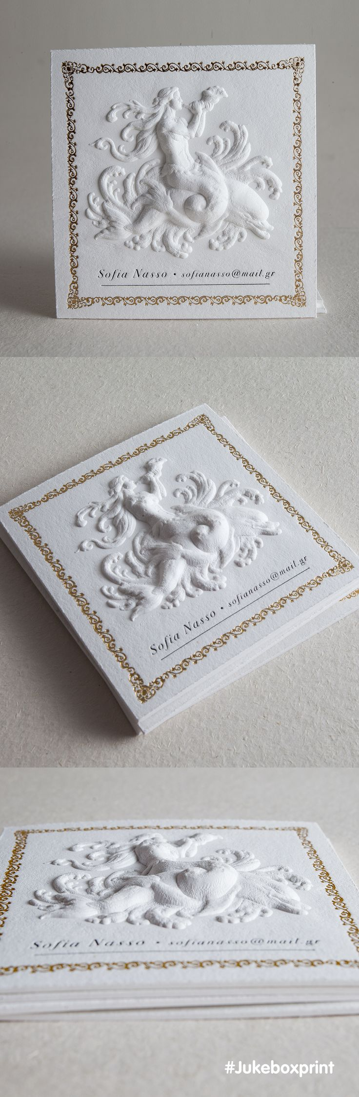 An extraordinary example of 3D Embossing pushed to the maximum level with depth and detail. Produced on 40pt Cotton with added elements of Letterpress and Gold Foiling. Printed by #Jukeboxprint