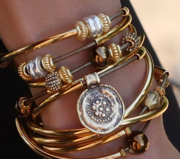 The Lizzy James Jewelry Autumn Leather Wrap Bracelet in 22kt Goldplate. This artisan handcrafted design is made in the USA. With over 50 leather colors to choose from join us at www.lizzyjames.com for new leather wrap bracelet style inspiration! #lizzyjamesinc