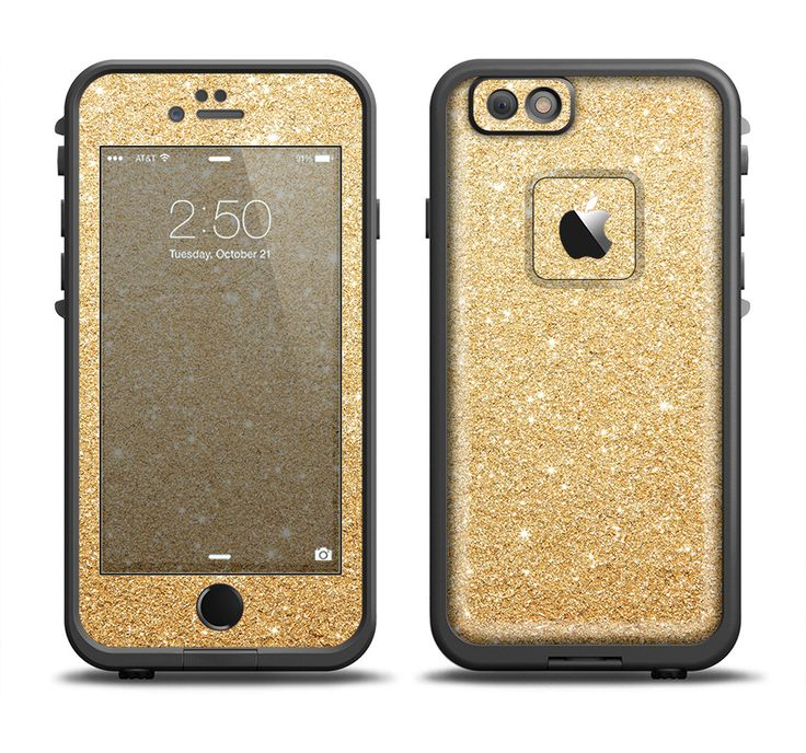 The Gold Glitter Ultra Metallic Apple iPhone 6/6s Plus LifeProof Fre Case Skin Set from DesignSkinz