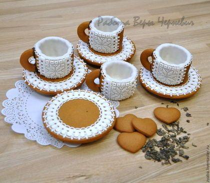 Кружевные пряничные чашечки для кофе или чая с блюдцами. ПРЯНИЧНЫЙ ТЕРЕМ. Работа Веры Черневич.