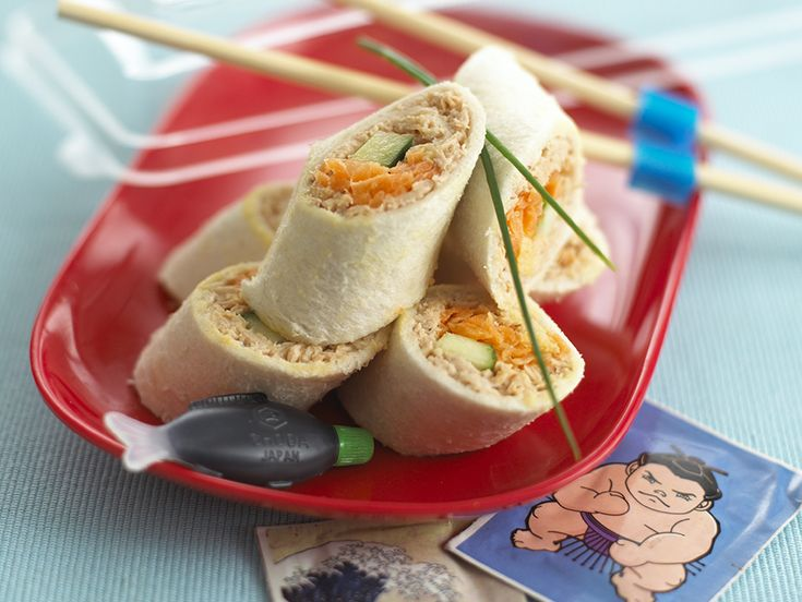 Kiddy Sushi Rolls ... for your child's lunchbox. Other good fillings would be tinned salmon mixed with a little mayonnaise, tomato ketchup and chopped spring onion with cucumber strips or strips of Cheddar with slices of tomato and cucumber.