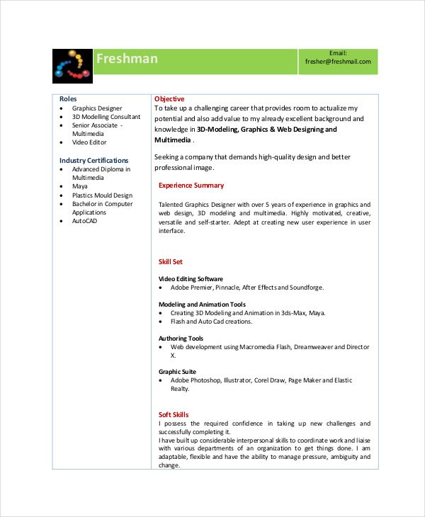 it resume format for freshers