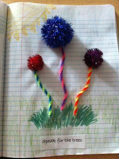 Lorax make trefulla trees out of pompoms and yarn and crayon for grass - great Dr. Seuss day activity
