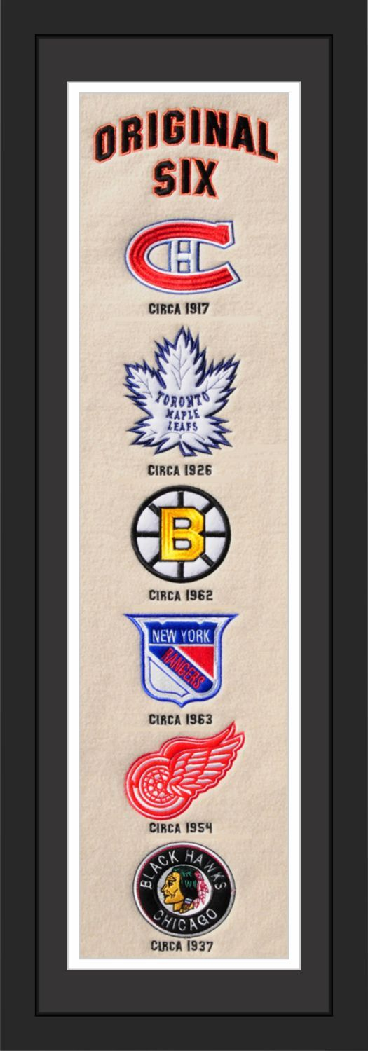 """NHL Original Six Teams Heritage Banner Matted and Framed.  This Original Six Heritage Banner captures the logos of the original #NHL Teams. Wool Blend with Embroidered Logos and Lettering. A truly timeless addition to any #hockey enthusiasts room. 36"""" Long X 12"""" Wide.  Officially Licensed By The National Hockey League By Station Bay"""