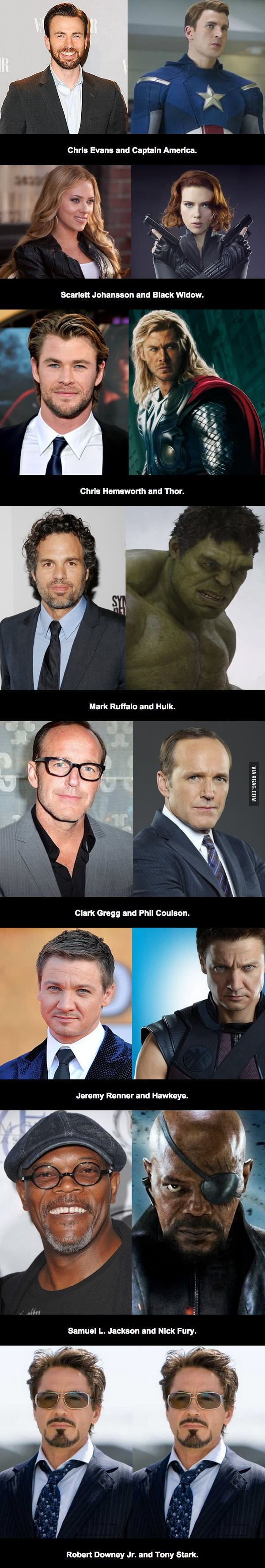 Avengers Actors And Characters...