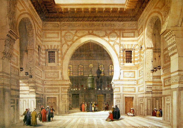 Egypt - Cairo - A painting of the interior of  Al Ghoree Mosque by David Roberts