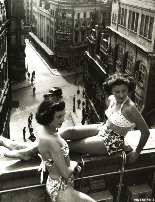 Sunbathers on a Piccadilly rooftop in London, by Bert Hardy, July 1953