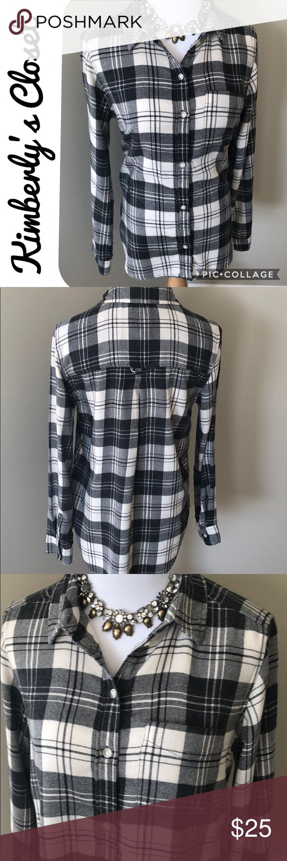 🛍AMERICAN EAGLE🛍 Plaid Flannel Shirt AMERICAN EAGLE black and off- white women's boyfriend fit lightweight flannel shirt.  Add a statement necklace for a feminine touch.  Only worn one time - excellent condition. American Eagle Outfitters Tops Button Down Shirts #americaneagleoutfitters