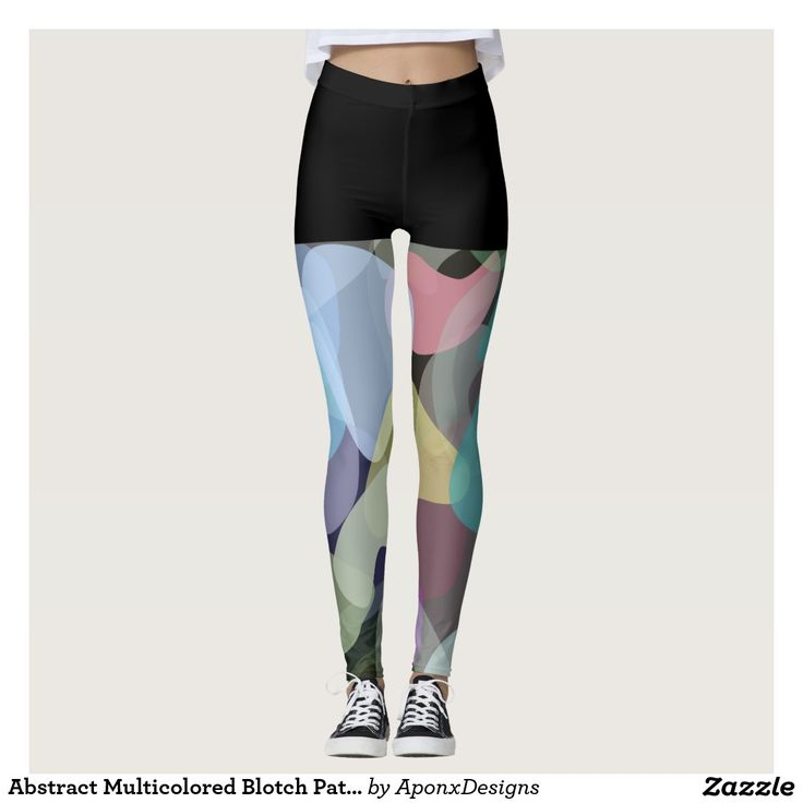 Abstract Multicolored Blotch Pattern Leggings